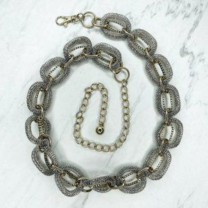 Silver and Gold Tone Chunky Metal Mesh Chain Belt